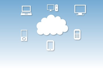 Cloud computing graphic with icons