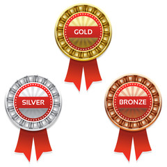 Gold, silver and bronze awards. Vector. eps 10
