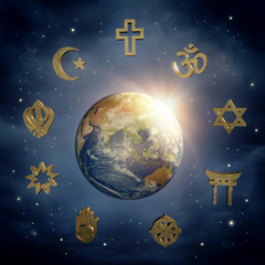 Earth and religious symbols