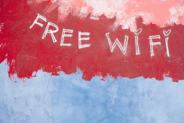 Free wifi sign on grunge retro red background