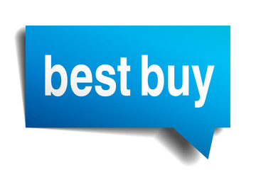 Best buy blue 3d realistic paper speech bubble isolated on white