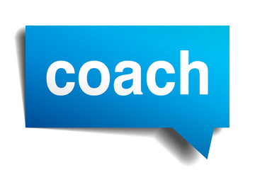Coach blue 3d realistic paper speech bubble isolated on white
