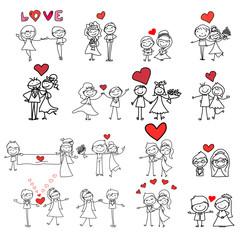 hand drawing cartoon happy wedding