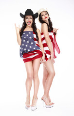 Glamorous Lucky Females in Hats and American Flag posing