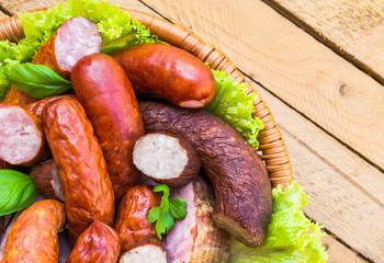 Background basket meat sausages meats