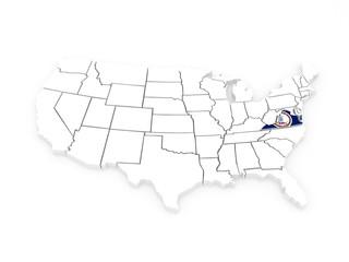 Three-dimensional map of Virginia. USA.