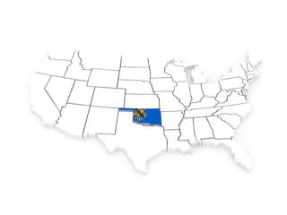 Three-dimensional map of Oklahoma. USA.