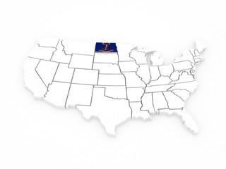 Three-dimensional map of North Dakota. USA.