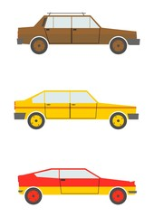 Silhouettes of retro cars