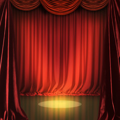 theatre scenary with red curtains