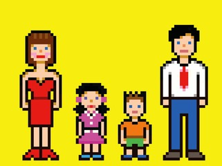 Pixel art happy family video game style vector