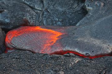 flow of red hot lava in the dark, Big Island, Hawaii