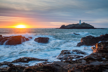 Sunset at Godrevy Cornwall England