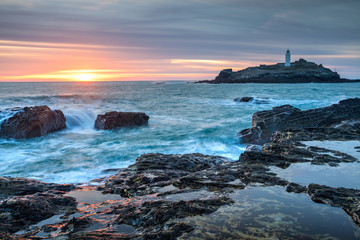 Wall Mural - Sunset at Godrevy Cornwall England