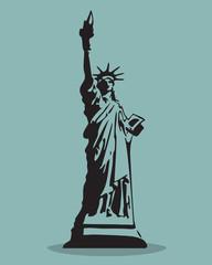 Statue of Liberty Black Silhouette Vector Illustration.