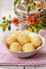 Pink and yellow easter eggs