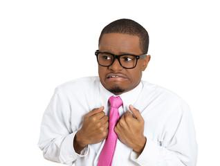 Portrait shy man anxious feels awkward isolated white background