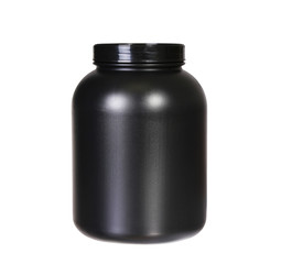 Sport Nutrition, Whey Protein or Gainer. Black Plastic Jar isola