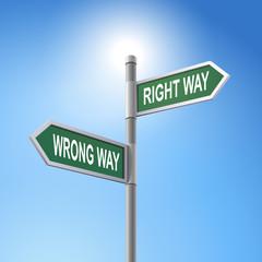 3d road sign saying wrong way and right way