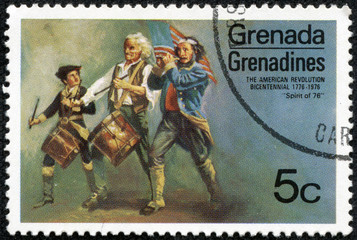 stamp printed in Grenada shows a painting of grenadines
