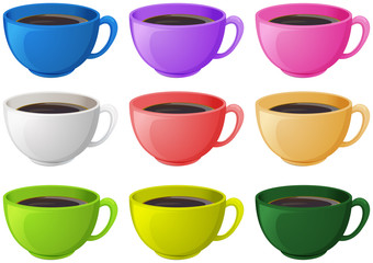 Colourful cups with coffee