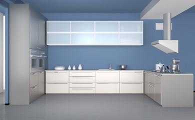 Modern kitchen interior with light blue wallpaper