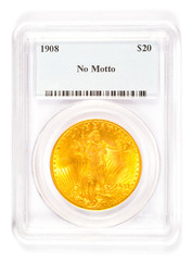 Gold St Gaudens Coin in Grading Case