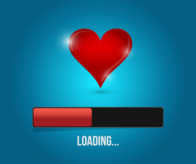 love loading bar illustration design