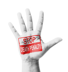 Open hand raised, Stop Death Penalty sign painted