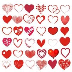 Set mit 36 verschiedenen Herzen