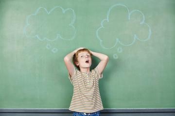 Kind vor Tafel mit Gedankenblase