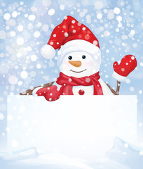 Vector snowman hiding by blank on snowfall background.