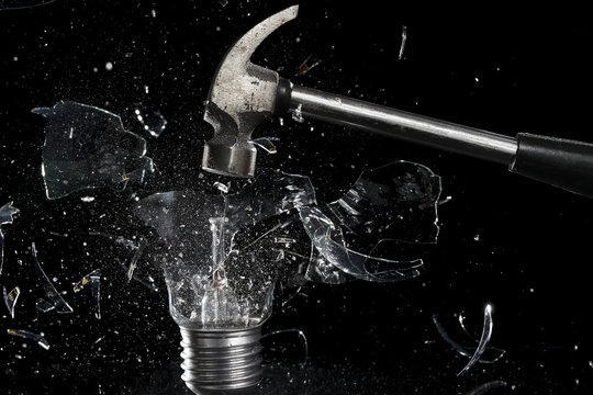 smashing a light bulb