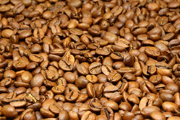 Brown coffee beans for background and texture