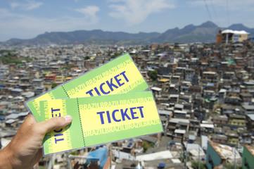 Brazilian Hand Holding Two Brazil Tickets Rio Favela