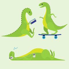 Resting dinosaur kids. Vector set.