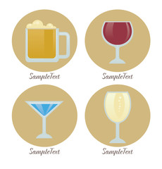 vector collection of alcohol drinks, icons and symbols