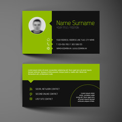 Modern dark business card template with flat user interface