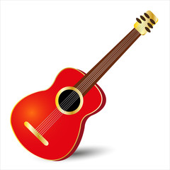 acoustic classical guitar in red color with gold details