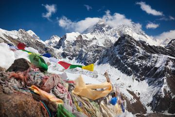 Buddhist prayer flags on top of Gokyo Ri, Everest, Nepal