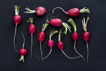 Fresh organic radish on black background