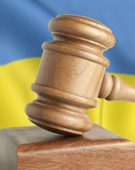 Gavel and flag Ukraine