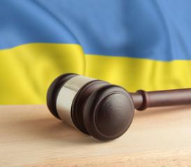 Gavel and flag Ukraine