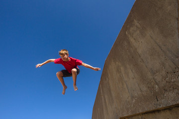 Teen Boy Jumping Park Hour Blue Sky