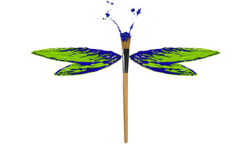 Green blue paint made dragonfly