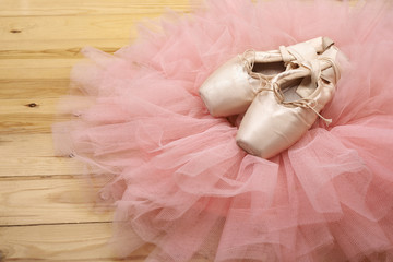 Custom vertical slats with your photo pair of ballet shoes pointes on wooden floor