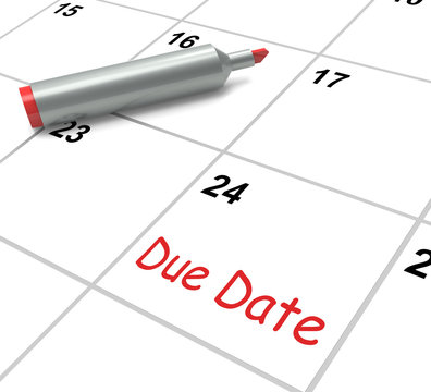 Due Date Calendar Shows Deadline For Submission