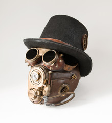 Steampunk hat, goggles and mask