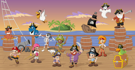 Group of cartoon pirates with funny animals on a decks of a ship