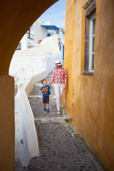 Mother and son in Santorini